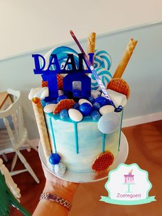 Blue Hockey Drip Cake