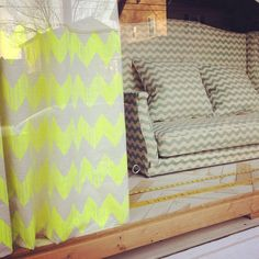 Co-Lab. Made from eco-friendly salvaged materials. Cotton canvas Ric Rac by Studio Bon! Porch Swing, House Exterior, Inspiration, Curtains, Custom Porch, Interior Design, Home Decor, Upholstery, Studio