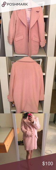 """Baby pink/blush wool coat Bought from a boutique(not Urban) Worn once Great condition No rips or stains One size(better for M) Too big on me Color is baby pink/blush/peach 80% wool Very heavy and warm  Model is 5'2"""" Price is firm.No trade.$80+shipping on Ⓜ️ Urban Outfitters Jackets & Coats"""