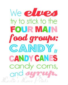 Elf  Four Main Food Groups Printable by LeslieLovePrints on Etsy, $3.00