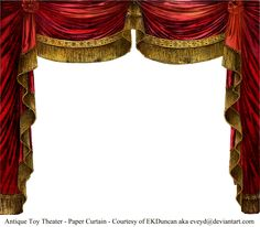 Antique Paper Theater Curtains by EveyD on DeviantArt Stage Curtains, Red Curtains, Paper Puppets, Paper Toys, Paper Curtain, Paper Art, Paper Crafts, Toy Theatre, Theatre Design