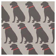 Labrador Dog Chocolate Pattern Fabric from #Ricaso
