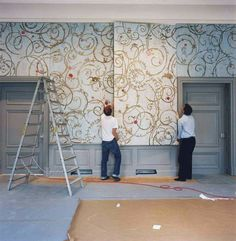 Hand Painted Wall Panels / Castle Benrath Duesseldorf by Wouter Dolk, via Behance