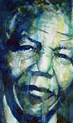 The iconic Nelson Mandela captured in watercolor by Paul Lovering