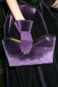 Purple velvet gloves and purse, Armani 2013 The Purple, Purple Velvet, All Things Purple, Shades Of Purple, Magenta, Purple Bags, Periwinkle, Lila Outfits, Mode Outfits