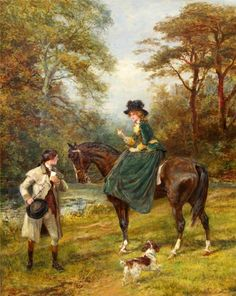The Village Postman & The Rendezvous (Pair) by Heywood Hardy from Haynes Fine Art of Broadway Victorian Paintings, Victorian Art, Victorian Women, Art Ancien, Classic Paintings, Illustration, Equine Art, Horse Art, Horses