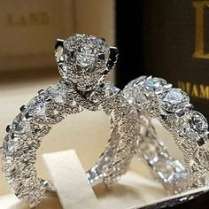 Ailend accepts custom jewelry crystal ring set European and American inlaid rhinestone fashion pair ring female party gift - Jewelry Stores NYC Engagement Wedding Ring Sets, Diamond Wedding Rings, Bridal Rings, Wedding Set, Wedding Bands, Engagement Jewelry, Solitaire Rings, Trendy Wedding, Sapphire Wedding