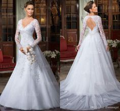 Wholesale Vestido De Noiva , Buy 2014 Vestido De Noiva A Line Wedding Dresses V Neck