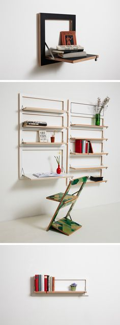 32 Smart And Stylish Folding Furniture Pieces For Small Spaces - DigsDigs Folding Furniture, Smart Furniture, Modern Furniture, Furniture Design, Folding Chairs, Antique Furniture, Furniture Ideas, Modular Shelving, Shelving Systems