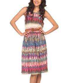 Papillon Imports Pink Ikat Short-Sleeve Dress | zulily #streetstyle