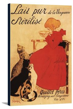 Canvas (Vingeanne Milk Girl with Cats - Vintage Promotional Poster)
