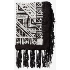 Express Mirror Embellished Geo Print Quad Scarf ($30) ❤ liked on Polyvore featuring accessories, scarves, black, black shawl, black scarves, long scarves, viscose scarves and fringe scarves