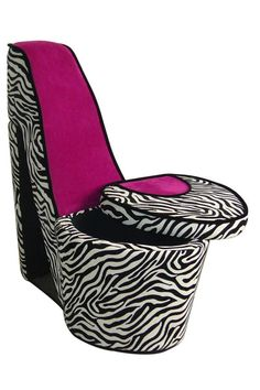 Total Fab Fun Funky High Heel Shoe Chairs For Less I Love This Zebra Stiletto With A Cool Storage Compartment