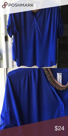 """NWOT 3x blue top You will love the flattering fit of this top. Not clingy and a nice long 30"""". Roll tab short sleeves. New and never worn. I have it in two other colors for myself, one of my favorite tops! Tops"""