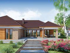 DOM.PL™ - Projekt domu DA Sonia 2 PS CE - DOM DS3-17 - gotowy koszt budowy My House Plans, Bungalow House Plans, Bungalow House Design, Modern House Design, Home Design Floor Plans, Kerala House Design, Kerala Houses, Hacienda Style, Luxury Homes Dream Houses