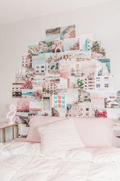 Cute Room Decor, Teen Room Decor, Room Ideas Bedroom, Bedroom Decor, Bedroom Wall Collage, Pastel Room Decor, Collage Wall Art, Dorm Room Decorations, Photo Collage Walls