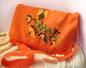 Items similar to Handmade embroidered shoulderbag, pumpkin/orange bag,satchel (BRACELET AS GIFT) on Etsy Handmade Items, Handmade Gifts, Fall Trends, Cool Items, Colorful Flowers, Drawstring Backpack, Gym Bag, Great Gifts, Autumn Fashion