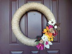 fall yarn + felt wreath