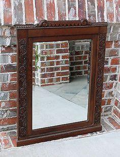 Antique French Country Dark Oak LARGE Framed Rectangular Beveled Wall Mirror