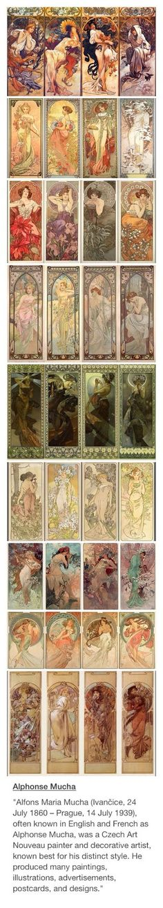 """Alphonse Mucha -- """"King of Art Nouveau"""" - This features 9 sets of Series, 4 pieces in each. He seemingly told stories through his art, which is very beautiful, very intriguing, & rather educational. Art Deco, Alphonse Mucha Art, Art Nouveau Mucha, Art Nouveau Tattoo, Jugendstil Design, Wow Art, Klimt, Art Inspo, Art History"""