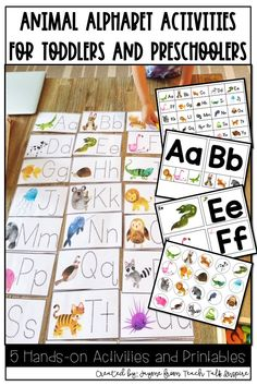 Animal Alphabet ABC Activities for Toddlers and Preschoolers.  5 hands-on activities for kids to learn letter names and beginning sounds of some of their favorite animals.  Also included is an animal Alphabet Chart for easy reference. Preschool Learning Activities, Alphabet Activities, Hands On Activities, Preschool Activities, Teaching Resources, Abc Crafts, Letter A Crafts, Animal Letters, Animal Alphabet