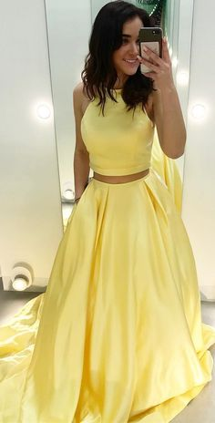 9f2244f36ea Cheap Two Piece Yellow Satin Formal Halter Long Simple Prom Dresses APD3238