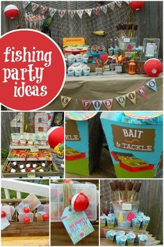 "Hooked on a fishing theme for your next event? Cast your eyes on some ""reel-ly"" fun fishing party ideas, including a tackle box cake and pretzel rod poles! Boy Birthday Parties, Birthday Fun, 5th Birthday Ideas For Boys, Birthday Board, Birthday Celebration, Gone Fishing Party, Fishing Party Games, First Birthdays, Party Time"