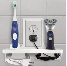 Bathroom Wall Outlet Organizer is part of Bathroom Organization Wall - This handy outlet wall organizer installs right over a standard wall outlet, neatly organizing electric devices so you can plug them to charge or unplug when not in Office Bathroom, Bathroom Shelves, Bathroom Wall, Bathroom Storage, Small Bathroom, Bathroom Ideas, Bathrooms, Shelf Wall, Cream Bathroom