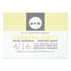 Custom Yellow Chevron Modern Chevron Engagement Party Personalized Invitation created by ThePaperMill. This invitation design is available on many paper types and is completely custom printed. Couples Shower Invitations, Online Invitations, Engagement Party Invitations, Personalized Invitations, Diy Invitations, Invites, Cocktail Party Invitation, Rehearsal Dinner Invitations, Invitation Paper
