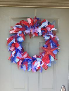 Red White and Blue Wreath 4th of July Wreath by AdornedByAngela