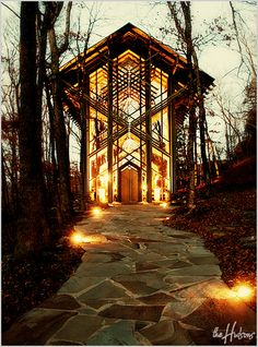 I adore the architecture of Thorncrown Chapel, and the lights at night add a nice atmosphere! - Photo by Jason