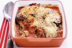 Eggplant parmigiana! So cheesy and delicious!