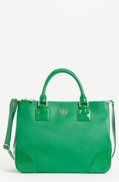 Vibrant emerald green, no better way to make a statement bag by Tory Burch!