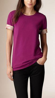 Rosa magenta Camiseta em algodão stretch com punhos xadrez - Imagem 1