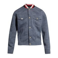 Astrid Andersen Ribbed-collar jersey bomber jacket ($425) ❤ liked on Polyvore featuring men's fashion, men's clothing, men's outerwear, men's jackets, denim and mens studded jacket