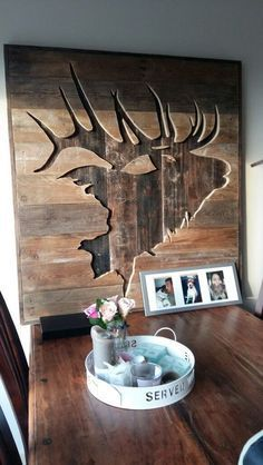 Learn to Launch your Carpentry Business - Elk silhouette in wood. DIY Pallet art Learn to Launch your Carpentry Business - Discover How You Can Start A Woodworking Business From Home Easily in 7 Days With NO Capital Needed! Pallet Crafts, Pallet Art, Wood Crafts, Diy Pallet, Pallet Signs, Pallet Ideas, Deer Wall Art, Wood Wall Art, Elk Silhouette