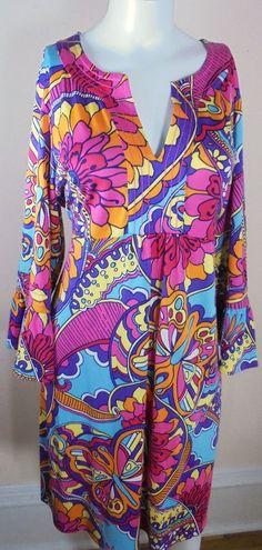 New Lilly Pulitzer Womens XL Twyla Dress Multi-Color Mod Paisley Kaftan Knit  #LillyPulitzer #StretchKnit #Casual