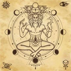 Portrait of horned god Cernunnos. Animation portrait of sitting horned god Cernunnos. Sacred geometry, phases of the moon, space symbols. Magic Symbols, Celtic Symbols, Gott Tattoos, Pagan Gods, Wiccan Witch, Celtic Mythology, Witch Art, Gods And Goddesses, Book Of Shadows