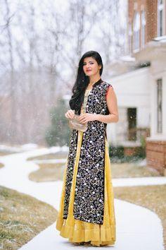 Zunera Mazhar with Embellished by Sadaf Amir Velvet Metallic work gown and yellow lehenga Lace Skirt, Sequin Skirt, Yellow Lehenga, Indian Dresses, Beautiful Outfits, Desi, Velvet, Saree, Asian