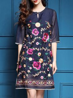 Blue Hollow Flowers Embroidered Shift Dress