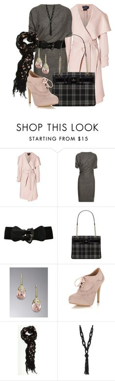 """Blushing Grey"" by stylesbyjoey ❤ liked on Polyvore featuring Salvatore Ferragamo, Lanvin, Kate Spade, David Yurman, Miss Selfridge, Wallis, floral scarves, sweater dresses, plaid bags and ankle booties"
