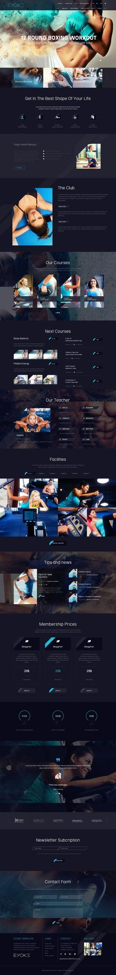 Eyoke is a nice and creative template for #Gym or #Fitness #website. It has multiple variations of design with light version and dark version. Each version come up with 4 different colors like Red, Green, Yellow and Blue.