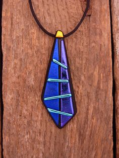 Dichroic Fused Glalss Necklace by PureLightStudio on Etsy