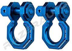 Razer Auto Falcon X Precision Blue Billet Aluminum Ton D-Ring Bow Shackle 1 Pair - Rugged Ton Capacity (Blue) Cool Truck Accessories, Offroad Accessories, Jeep Wrangler Accessories, Tacoma Accessories, Vehicle Accessories, Jeep Wrangler Yj, Jeep Tj, Jeep Wrangler Unlimited, Tacoma Truck