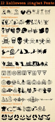 Make your own Halloween printables with these spooky Halloween dingbat fonts! All are FREE downloads.
