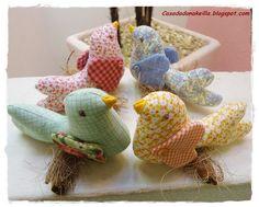 Dona Keilla passarinhos em tecido. fabric birdies. Sewing. Cute