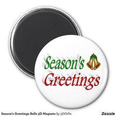 Season's Greetings Bells 3D Magnets
