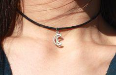 Mini Crescent Charm Choker by Vivamacity on Etsy https://www.etsy.com/listing/221009060/mini-crescent-charm-choker
