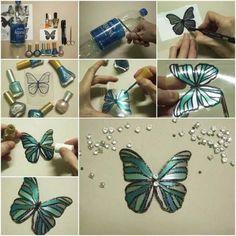 21.Nail polish Butterfly art ideas