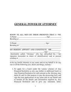 Sample Power Of Attorney Letter Template General Form Details